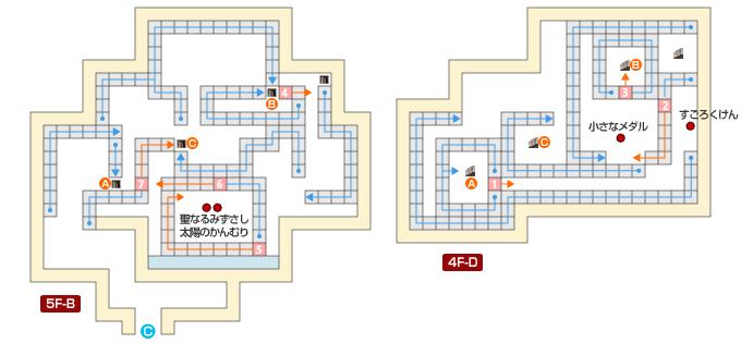 エビルマウンテン 矢印タイルの部屋のマップ